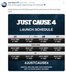 Revelada data de lançamento de JUST CAUSE 4 4