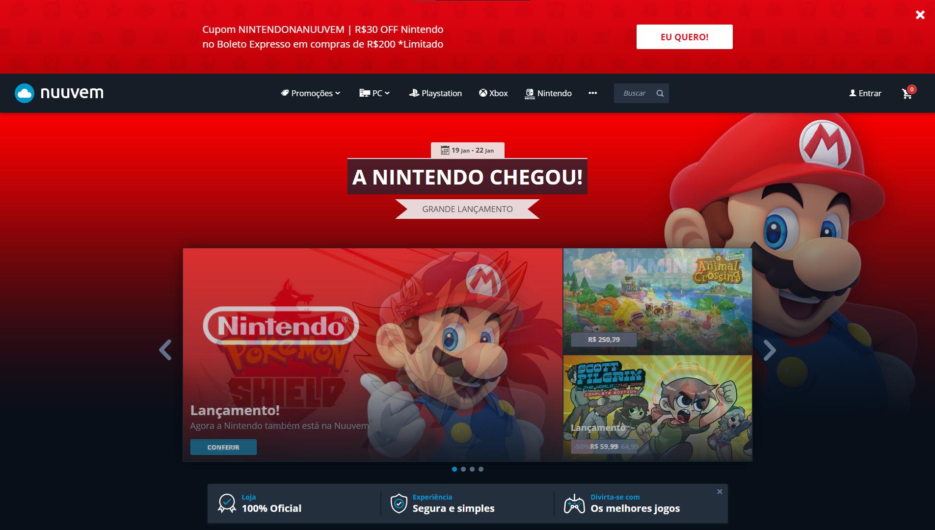 Nuuvem parceria oficial com a Nintendo